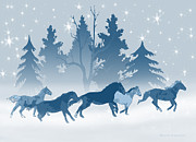 Blue Horse Prints - Horses on a Snowy Winter Evening Print by Renee Forth Fukumoto
