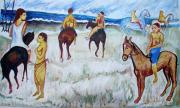 Oils Originals - Horses on Beach by Anand Swaroop Manchiraju
