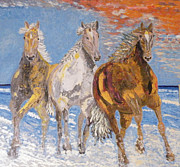 Sunset Reliefs Prints - Horses on the Beach Print by Vicky Tarcau