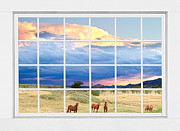 Grazing Horse Posters - Horses On The Storm Large White Picture Window Frame View Poster by James Bo Insogna