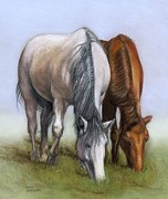 Sharon Challand - Horses Quietly Grazing