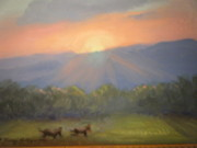 Prophetic Art Painting Originals - Horses Running Free by Patricia Kimsey Bollinger