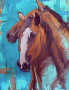 Horse Portrait Art - horses - Together 1 by Go Van Kampen