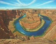 Canyon Painting Framed Prints - Horseshoe Bend Colorado River Arizona Framed Print by Richard Harpum
