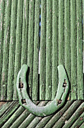 Good Luck Prints - Horseshoe nailed to a green door Print by Robert Preston