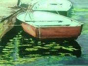 Row Boat Pastels Prints - Horseshoe Pond Presque Isle State Park PA Print by Mary Kay Geary