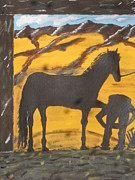 Old Barn Paintings - Horseshoeing Silhouette by Jeffrey Koss
