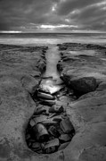 White Clouds Prints - Horseshoes Beach  Black and White Print by Peter Tellone