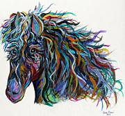 Silver Turquoise Mixed Media - Horsin Around by Eloise Schneider
