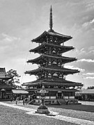 Kobe Framed Prints - Horyu-ji Temple Pagoda B W - Nara Japan Framed Print by Daniel Hagerman
