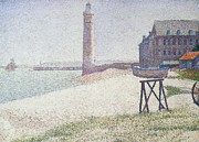 Lighthouse Art Paintings - Hospice and lighthouse at Honfleur by Georges Seurat