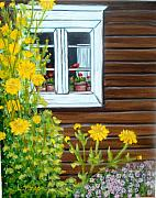 Cabin Window Painting Framed Prints - Hospitable Homestead Framed Print by Laurie Morgan