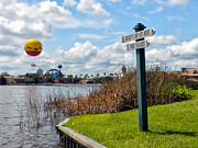 Hot Air Balloon And Old Key West Port Orleans Signage Disney World Print by Thomas Woolworth