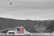 Hot Air Balloon Framed Prints - Hot Air Balloon Boulder Flag Barn and Eldora BWSC Framed Print by James Bo Insogna