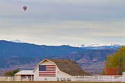 Hot Air Balloon Photos - Hot Air Balloon Boulder Flag Barn and Eldora  by James Bo Insogna