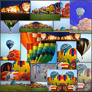 Coller Posters - Hot Air Balloon Collage Square Poster by Thomas Woolworth