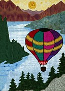 Quilting Machine Tapestries - Textiles Metal Prints - Hot Air Balloon Metal Print by Jean Baardsen