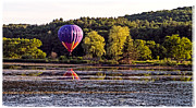 Flying Photos - Hot Air Balloon over Pond by Edward Fielding