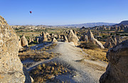 Hot Air Balloon Photos - Hot Air Balloon over Sword Valley Gorome Cappadocia by Robert Preston