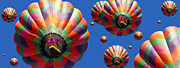 Hot Air Balloons Framed Prints - Hot Air Balloon Panoramic Framed Print by Edward Fielding