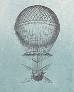 Basket Drawings Prints - Hot-Air Balloon - Retro Design Print by World Art Prints And Designs