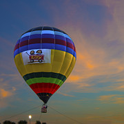 Indianapolis Art - Hot Air Balloon Riley Sunset Digitally Painted by David Haskett