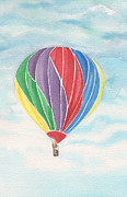 Ruston Posters - Hot Air Balloon Smooth Flight Poster by Carolyn Weir