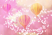 Balloon Art Posters - Hot Air Balloon Surreal Dreamy Pink Yellow Hot Air Balloon Art - Child Nursery Baby Room Wall Art Poster by Kathy Fornal