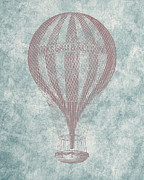 Basket Drawings Prints - Hot Air Balloon - Vintage Drawing Print by World Art Prints And Designs