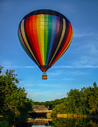 Covered Bridge Metal Prints - Hot Air Balloon Woodstock Vermont Metal Print by Edward Fielding
