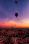 Aerial Photograph Framed Prints - Hot Air Balloons in the Dawn Skies Over Egypt Framed Print by Mark E Tisdale