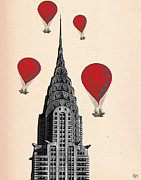 Chrysler Building Digital Art Prints - Hot Air Balloons Red Chrysler Building Print by Kelly McLaughlan