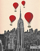American Prints Framed Prints - Hot Air Balloons Red Empire State Building Framed Print by Kelly McLaughlan