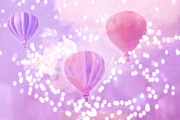 Balloon Art Posters - Hot Air Balloons Surreal Dreamy Lavender Purple Carnival Festival Art - Child Nursery Room Wall Art  Poster by Kathy Fornal