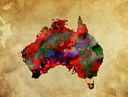 Hot Australia Map Print by Daniel Hagerman