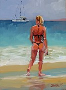 Boat On Beach Paintings - Hot Buns by Laura Lee Zanghetti