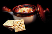 Hot Chili With Cheese And Crackers Print by Andee Photography