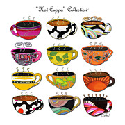 Madart Prints - Hot Cuppa Whimsical Colorful Coffee Cup Designs by ROMI Print by Romi Neilson