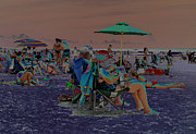 Blue Art Jewelry Prints - Hot Day at the Beach - Solarized Print by Suzanne Gaff