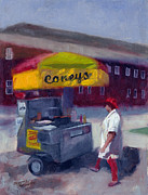 Hot Dog Stand Paintings - Hot Dog Anyone by Tommy Thompson