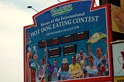 Nathans Sign Posters - Hot Dog Eating Contest  Poster by Susan Carella