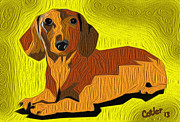 Dachshund Art Digital Art - Hot Dog by Glenn Cotler