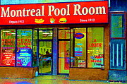 Montreal Pool Room Paintings - Hot Dogs Et Frites Montreal Pool Room Famous Hot Dog Shrine Urban Eateries Fast Food Scenes Cspandau by Carole Spandau