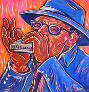 Angel Blues  Painting Prints - Hot Harp Print by Robert Ponzio