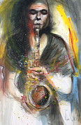 Degroat Painting Originals - Hot Jazz Man by Gregory DeGroat