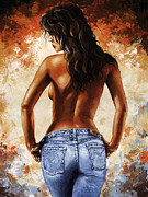 Nude Framed Prints - Hot Jeans 02 blue Framed Print by Emerico Imre Toth