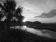 Cedar Key Prints - Hot June Sunrise I        BW Print by Sheri McLeroy