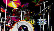 Drum Set Framed Prints - Hot Licks Drummer Framed Print by Kae Cheatham