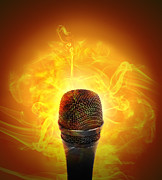 Hot Music Microphone Burning Print by Angela Waye