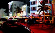 South Beach Framed Prints - Hot Nights in South Beach - Oil Framed Print by Michael Swanson